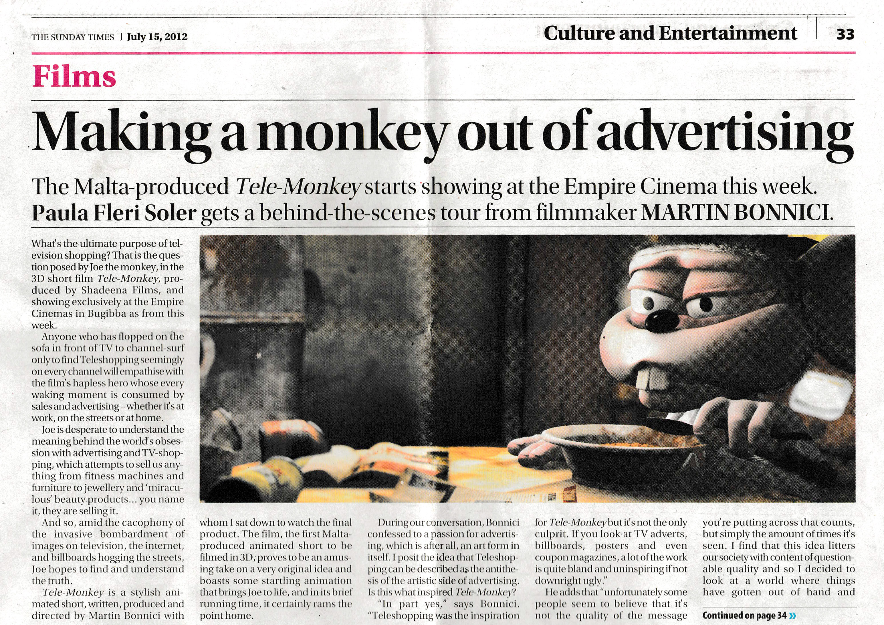 Making a monkey out of advertising - Times of Malta